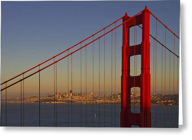 Tranquil Digital Art Greeting Cards - Golden Gate Bridge at Sunset Greeting Card by Melanie Viola