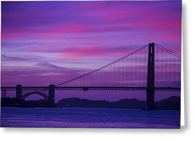 Golden Gate Greeting Cards - Golden Gate Bridge At Twilight Greeting Card by Garry Gay