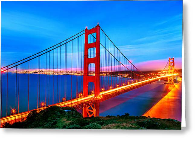 San Francisco Bay Bridge Greeting Cards - Follow the Golden Trail Greeting Card by Az Jackson