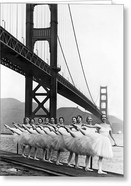 Golden Gate Bridge Ballet Greeting Card by Underwood Archives