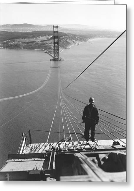 Golden Gate Bridge Cables Greeting Card by Underwood Archives