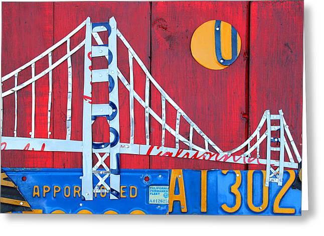 Barn Wood Greeting Cards - Golden Gate Bridge California recycled Vintage License Plate Art on Red Distressed Barn Wood Greeting Card by Design Turnpike