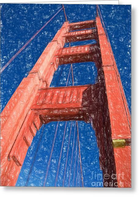 Golden Gate Drawings Greeting Cards - Golden Gate Bridge Greeting Card by Carsten Reisinger