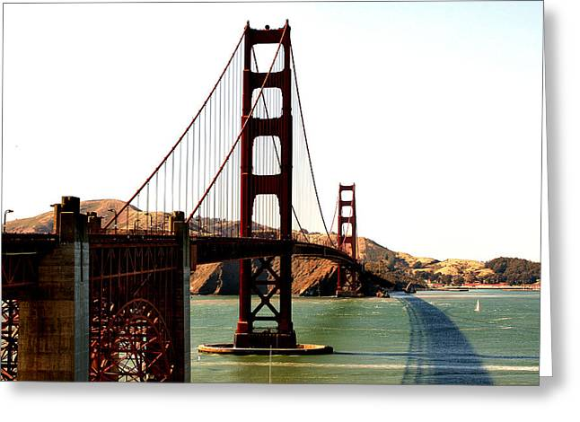 Frisco Greeting Cards - Golden Gate Bridge Greeting Card by Cedric Darrigrand