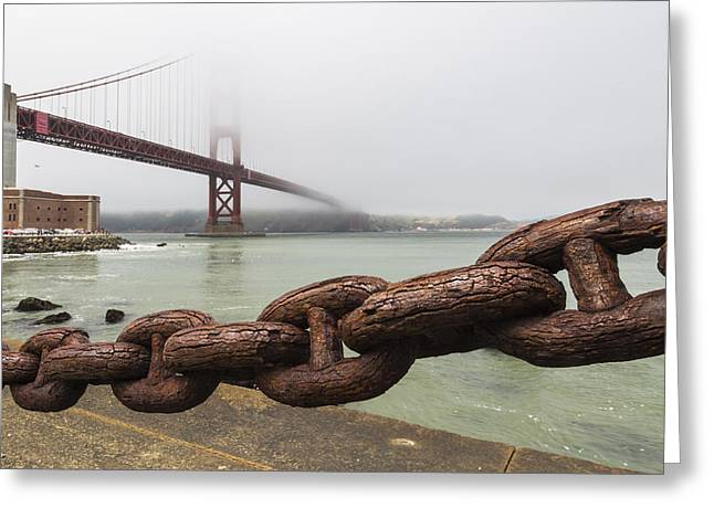 Famous Bridge Greeting Cards - Golden Gate Bridge Chain Greeting Card by Adam Romanowicz