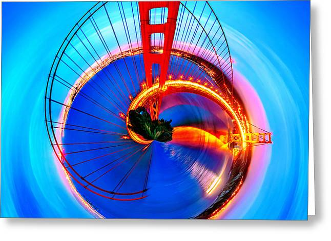 Fine Art Of America Greeting Cards - Golden Gate Bridge Circagraph Greeting Card by Az Jackson