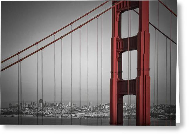 Colorkey Digital Greeting Cards - Golden Gate Bridge - Downtown View Greeting Card by Melanie Viola