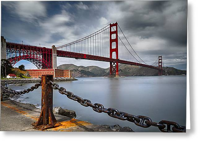 Golden Gate Bridge Greeting Card by Eduard Moldoveanu