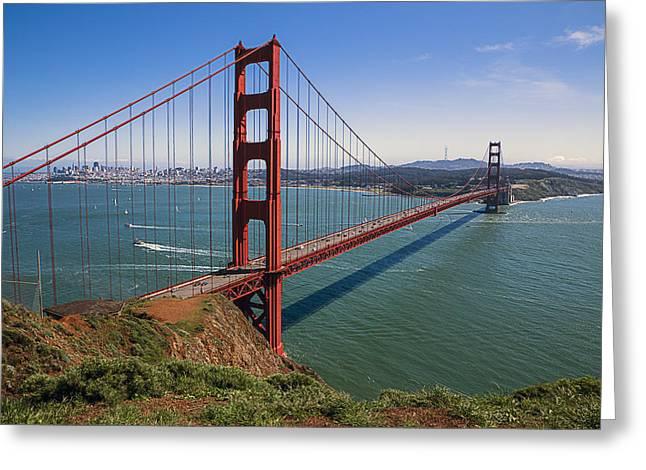 Golden Greeting Cards - Golden Gate Bridge Greeting Card by Garry Gay