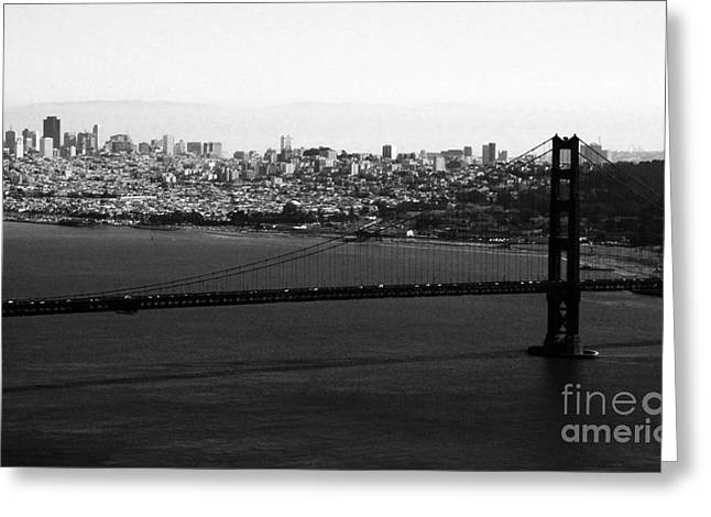 City Buildings Mixed Media Greeting Cards - Golden Gate Bridge in Black and White Greeting Card by Linda Woods