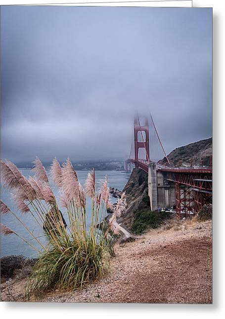 Buildings By The Sea Greeting Cards - Golden Gate Bridge in clouds Greeting Card by Andrea Bruns