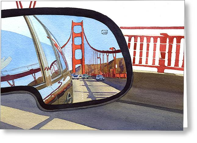 Golden Gate Bridge In Side View Mirror Greeting Card by Mary Helmreich