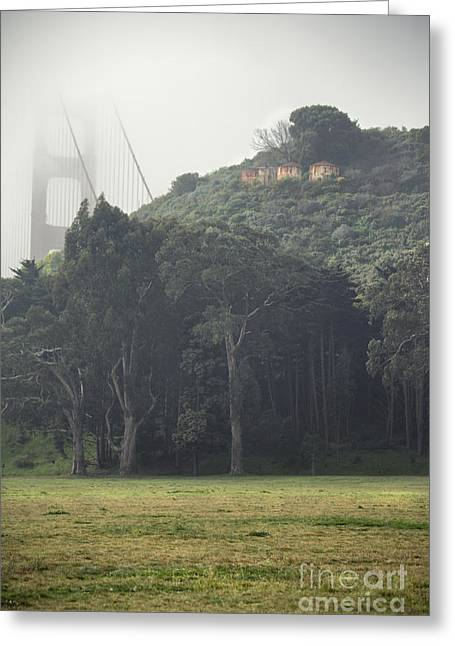 Beach Photography Pyrography Greeting Cards - Golden Gate Bridge in the Fog Greeting Card by Joel Lavold