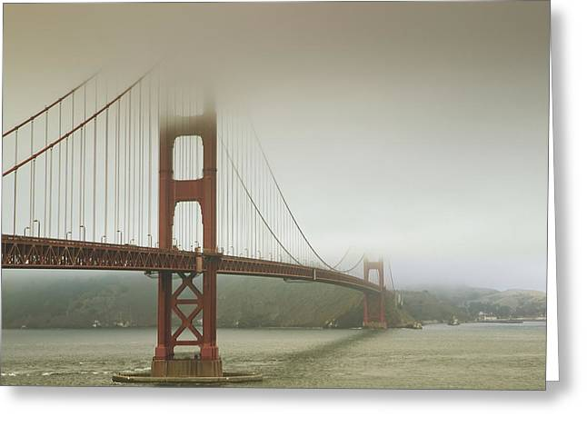 United States Of America Hazy Day Greeting Cards - Golden Gate Bridge In The Mist Greeting Card by APlights