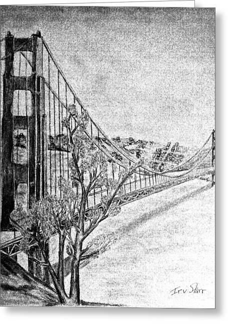 Famous Bridge Drawings Greeting Cards - Golden Gate Bridge Greeting Card by Irving Starr