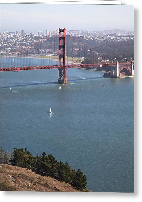 Old Roadway Greeting Cards - Golden Gate Bridge Greeting Card by Jenna Szerlag