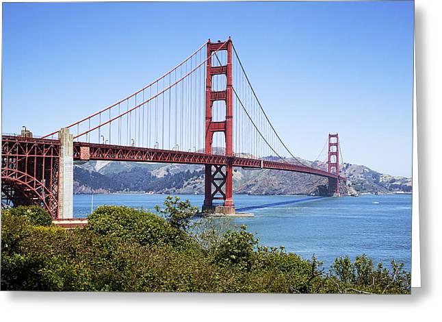 Sausalito Greeting Cards - Golden Gate Bridge Greeting Card by Kelley King