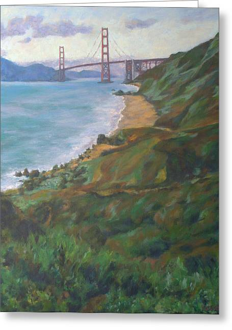 China Beach Greeting Cards - Golden Gate Bridge Greeting Card by Kerima Swain