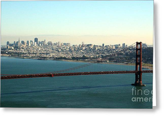 Alcatraz Greeting Cards - Golden Gate Bridge Greeting Card by Linda Woods