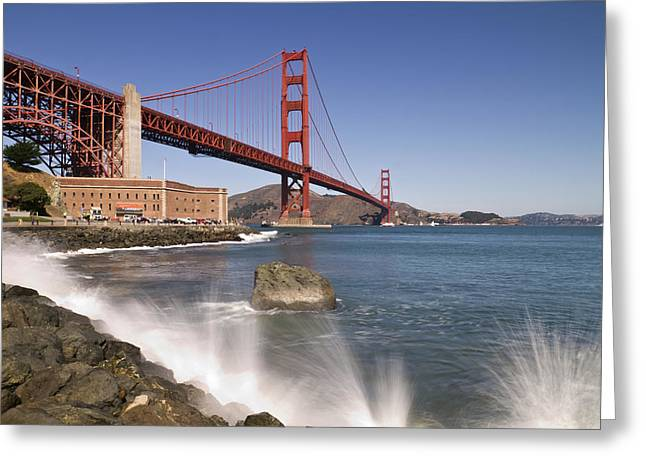 Sightseeing Digital Greeting Cards - Golden Gate Bridge Greeting Card by Melanie Viola