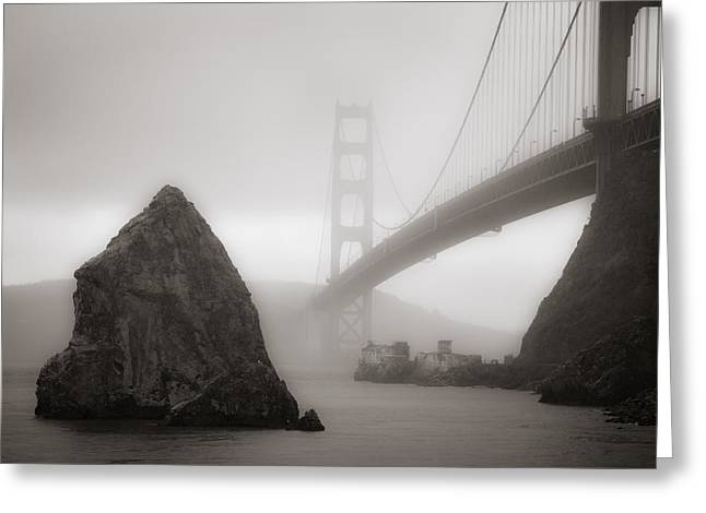 Sausalito Greeting Cards - Golden Gate Bridge Greeting Card by Niels Nielsen