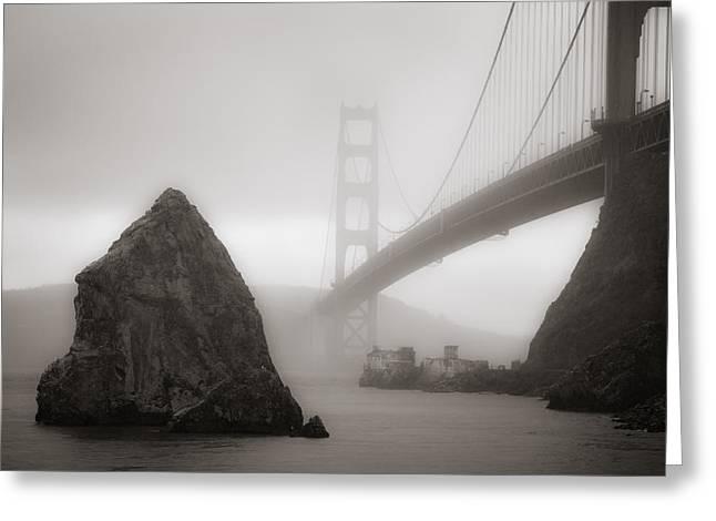 Alcatraz Lighthouse Greeting Cards - Golden Gate Bridge Greeting Card by Niels Nielsen