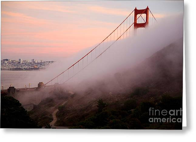 Foggy Ocean Greeting Cards - Golden Gate Bridge Greeting Card by Novastock