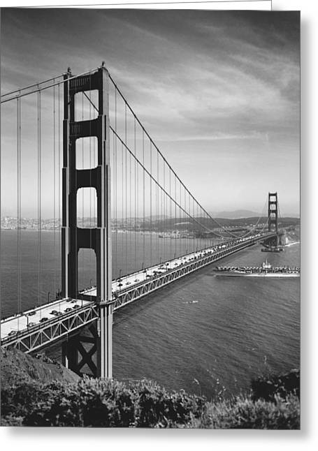 Car Carrier Greeting Cards - Golden Gate Bridge Opening Greeting Card by Underwood Archives