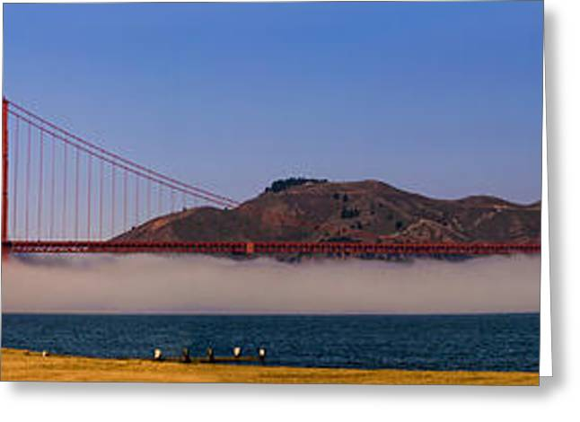 Sunrise Greeting Cards - Golden Gate Bridge over fog Panorama Greeting Card by Chris Bordeleau
