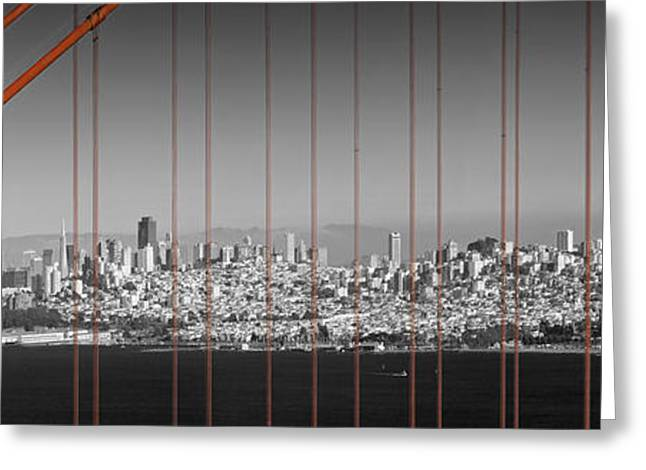 Landscape. Scenic Digital Art Greeting Cards - Golden Gate Bridge Panoramic Downtown View Greeting Card by Melanie Viola