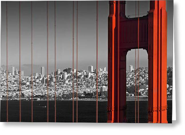 Moody Greeting Cards - Golden Gate Bridge Panoramic Downtown View Greeting Card by Melanie Viola