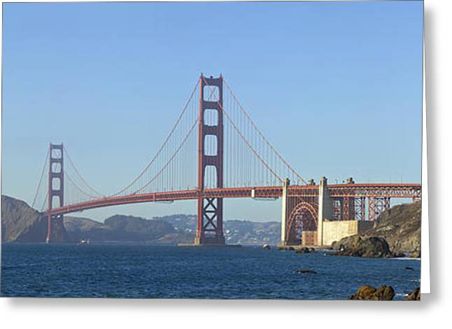 Golden Gate Greeting Cards - Golden Gate Bridge PANORAMIC Greeting Card by Melanie Viola