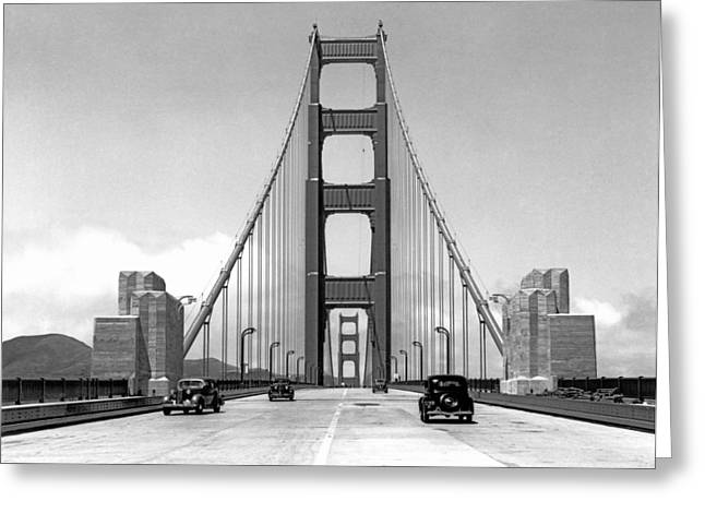 Golden Gate Bridge Preview Greeting Card by Underwood Archives