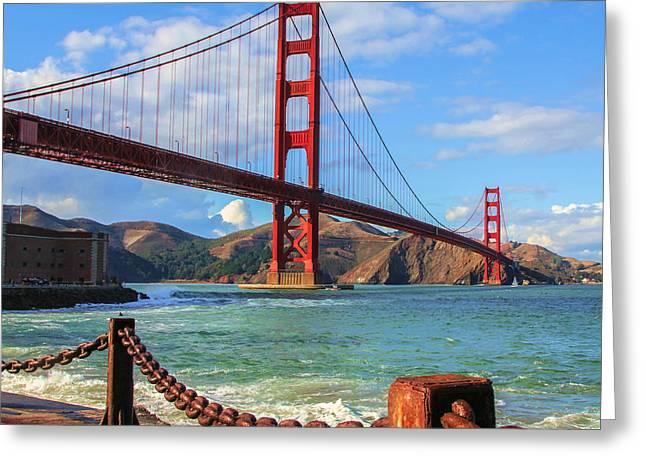 Red Rock Crossing Greeting Cards - Golden Gate Bridge Greeting Card by Robert  Aycock