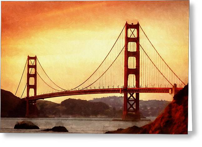 Water Themed Paintings Greeting Cards - Golden Gate Bridge San Francisco California Greeting Card by Fine Art