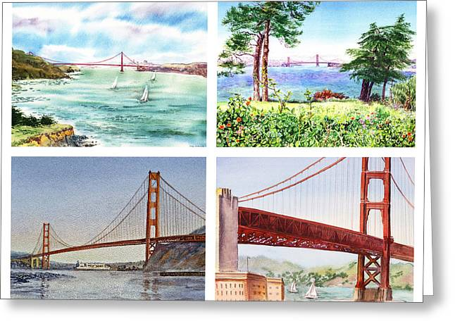 Touristic Greeting Cards - Golden Gate Bridge San Francisco California Greeting Card by Irina Sztukowski