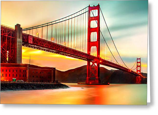 Panoramic Ocean Photographs Greeting Cards - Golden Gate Sunset Greeting Card by Az Jackson