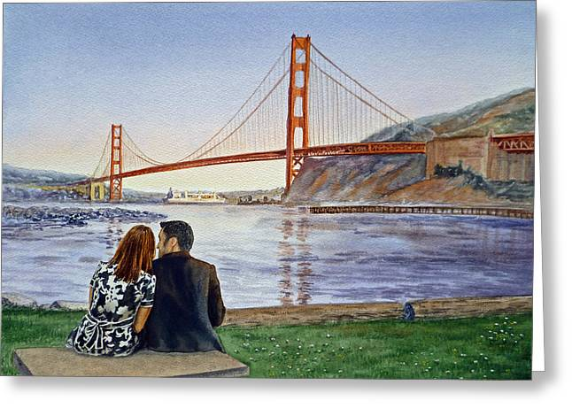 San Francisco Bay Bridge Greeting Cards - Golden Gate Bridge San Francisco - Two Love Birds Greeting Card by Irina Sztukowski