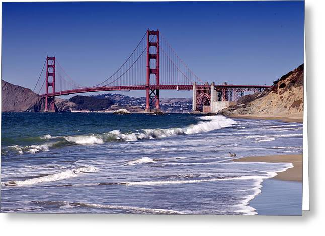 Wave Greeting Card featuring the photograph Golden Gate Bridge - Seen From Baker Beach by Melanie Viola