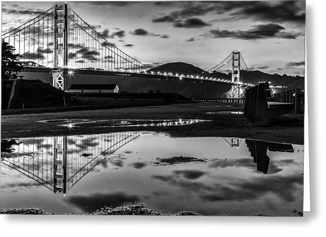 Dave Gordon Greeting Cards - Golden Gate Bridge Self Reflection Greeting Card by Dave Gordon