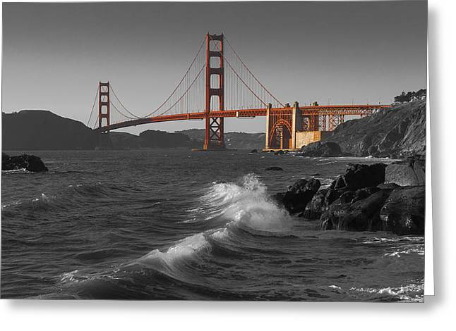 1933 Movies Greeting Cards - Golden Gate Bridge Sunset Study 1 BW Greeting Card by Scott Campbell