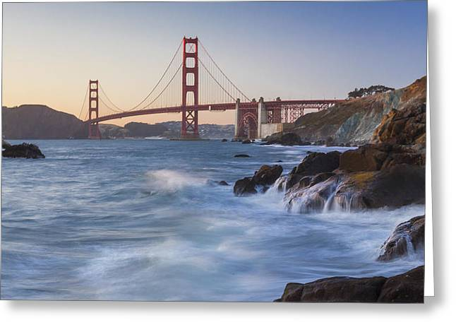 Glow Greeting Cards - Golden Gate Bridge Sunset Study 5 Greeting Card by Scott Campbell