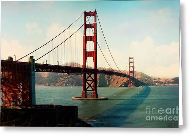 Sausalito Greeting Cards - Golden Gate Bridge Greeting Card by Sylvia Cook