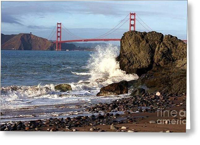 China Beach Greeting Cards - Golden Gate Bridge Greeting Card by Tamra Gentry Abbott