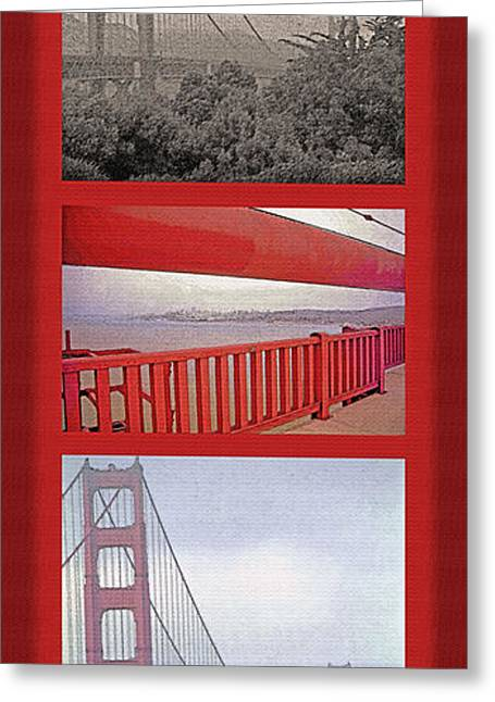 Famous Bridge Mixed Media Greeting Cards - Golden Gate Bridge Triptych Greeting Card by Steve Ohlsen