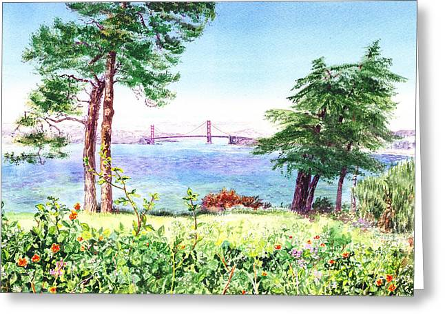 Golden Gate Bridge View From Lincoln Park San Francisco Greeting Card by Irina Sztukowski