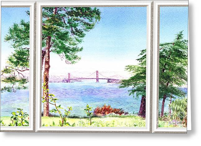 Blue Sailboats Greeting Cards - Golden Gate Bridge View Window Greeting Card by Irina Sztukowski