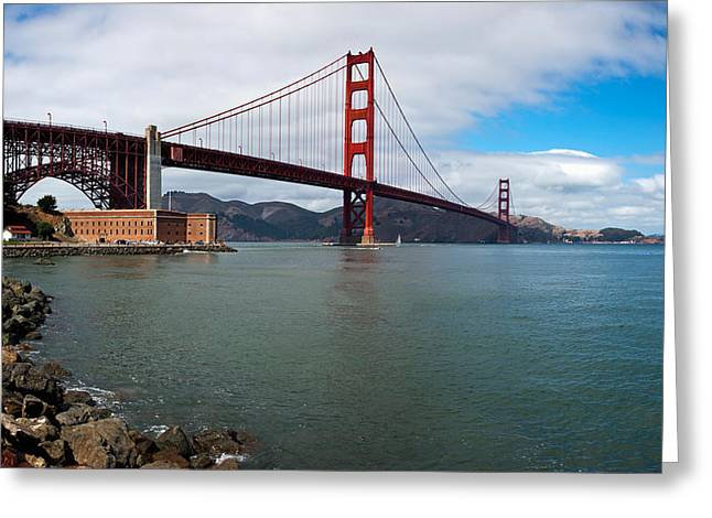 Scenic Drive Greeting Cards - Golden Gate Bridge Viewed From Marine Greeting Card by Panoramic Images