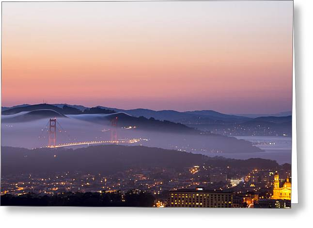 San Francisco Bay Pyrography Greeting Cards - Golden Gate Bridge with low rolling fog Greeting Card by Jason  Choy