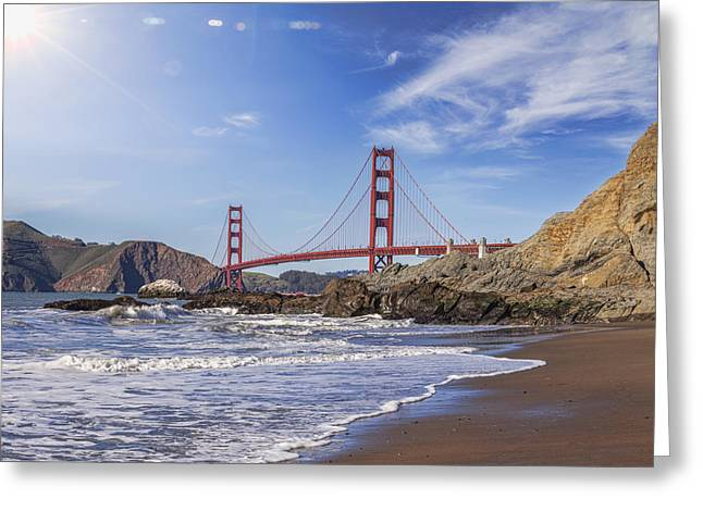 American Icons Photographs Greeting Cards - Golden Gate Bridge with Sun Flare Greeting Card by Colin and Linda McKie